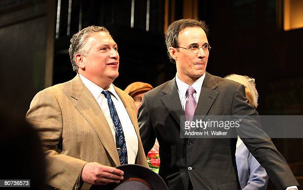 Actor Harvey Fierstein and composer John Bucchino take the curtain call at the opening night of A Catered Affair at the Walter Kerr Theater on April...