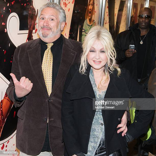 Actor Harvey Fierstein and musician Cyndi Lauper attend Broadway's Kinky Boots Everybody Say Yeah Ad Unveiling in Times Square on April 2 2013 in New...
