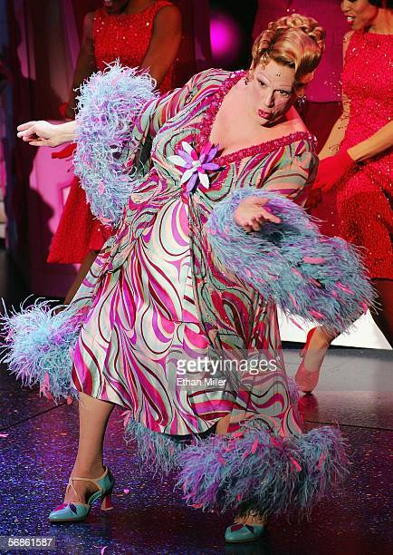 Actor Harvey Fierstein as the character Edna Turnblad performs during the opening night of the Broadway musical Hairspray at the Luxor Hotel Casino...