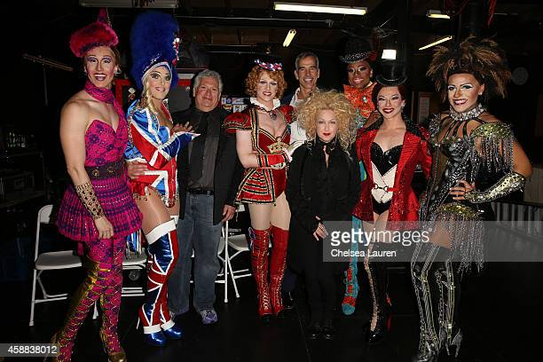 Actor Harvey Fierstein director Jerry Mitchell and singer Cyndi Lauper acelebrate the LA premiere Of 'KINKY BOOTS' at the Pantages Theatre on...