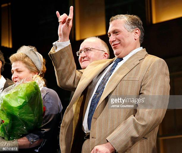 Actor Harvey Fierstein takes a bow during the curtain Call at the Broadway Opening Night of A Catered Affair at the Walter Kerr Theater on April 17...