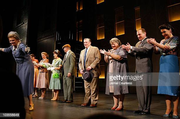 Actor Harvey Fierstein Tom Wopat and Faith Prince and the cast of A Catered Affair take a bow during the curtain Call at the Broadway Opening Night...