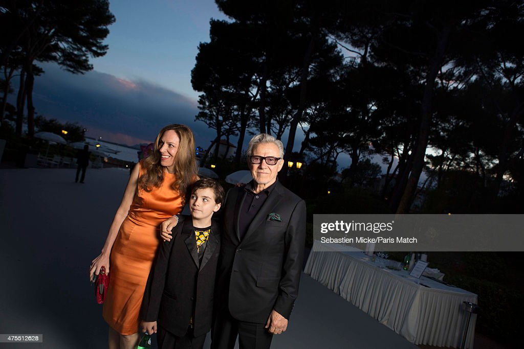 Actor Harvey Keitel with his wife Daphna Kastner and son Roman attend the 22nd Gala for AmFar Cinema Against AIDS. Photographed for Paris Match at the Cap-Eden-Roc hotel on May 21, 2015 in Cap d'Antibes, France.