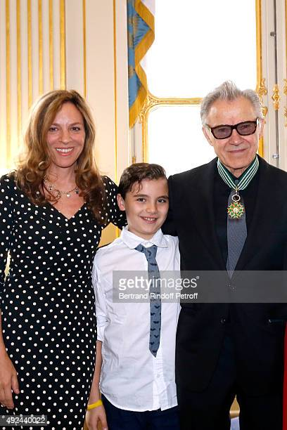 Actor Harvey Keitel with his wife Daphna Kastner and their son Roman Keitel attend Harvey Keitel receives the Medal of Commander of Arts and Letter...
