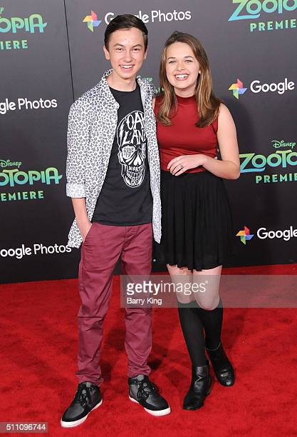 Actor Hayden Byerly and actress Alyssa Jirrels attend the Premiere of Walt Disney Animation Studios' 'Zootopia' at the El Capitan Theatre on February...