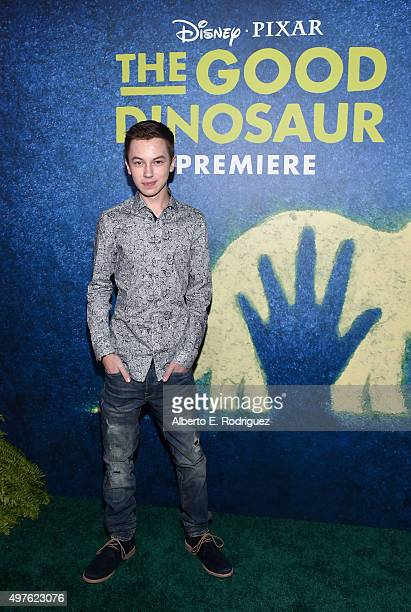 Actor Hayden Byerly attends the World Premiere Of DisneyPixar's THE GOOD DINOSAUR at the El Capitan Theatre on November 17 2015 in Hollywood...