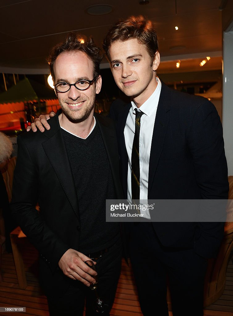 Actor Hayden Christensen (R) and a guest attend the Glacier Films launch party hosted by Hayden C and Michael Saylor aboard the Yacht Harle on May 19, 2013 in Cannes, France.