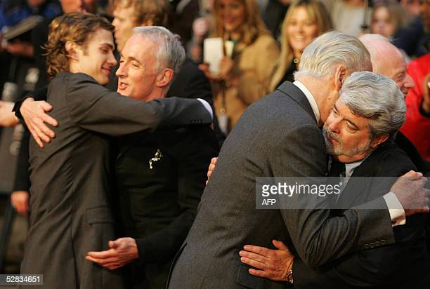 Actor Hayden Christensen left who plays Anakin Skywalker hugs Anthony Daniels who plays C3PO and Christopher Lee who plays Count Dooku hugs...
