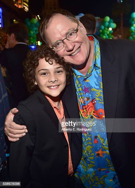 Actor Hayden Rolence and Executive producer John Lasseter attend The World Premiere of DisneyPixar's FINDING DORY on Wednesday June 8 2016 in...