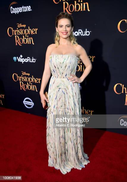 Actor Hayley Atwell attends the world premiere of Disney's 'Christopher Robin' at the Main Theater on the Walt Disney Studios lot in Burbank CA on...