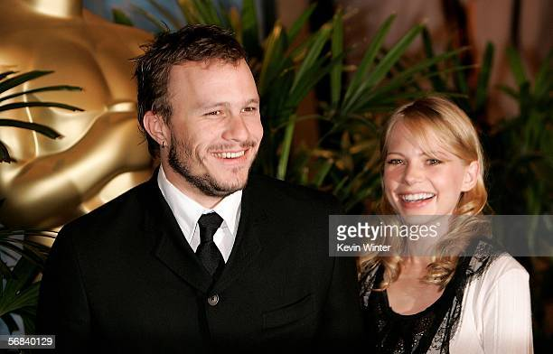 Actor Heath Ledger and actress Michelle Williams arrive at the Oscar Nominees Luncheon at the Beverly Hilton Hotel on February 13, 2006 in Beverly...