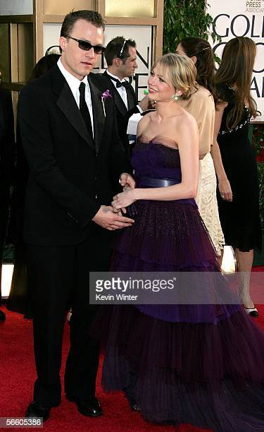 Actor Heath Ledger and Actress Michelle Williams arrive to the 63rd Annual Golden Globe Awards at the Beverly Hilton on January 16 2006 in Beverly...