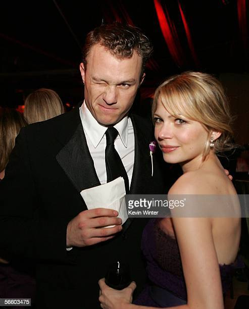 Actor Heath Ledger and actress Michelle Williams attend the Universal/NBC/Focus Features Golden Globe after party held at the Beverly Hilton on...