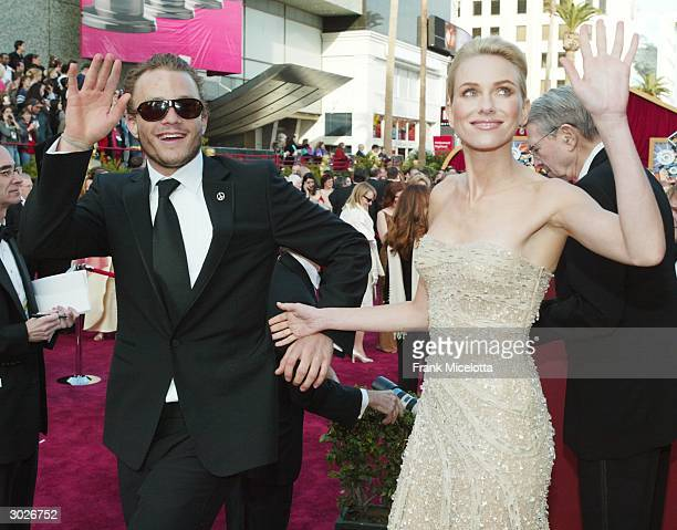 Actor Heath Ledger and Actress Naomi Watts attend the 76th Annual Academy Awards at the Kodak Theater on February 29 2004 in Hollywood California
