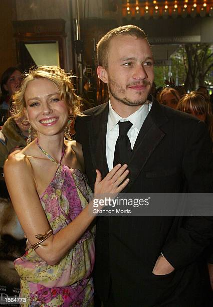 Actor Heath Ledger and actress/girlfriend Naomi Watts attend the World Premiere of the film Ned Kelly March 22 2003 at the Regent Theatre in...