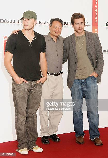 Actor Heath Ledger director Ang Lee and actor Jake Gyllenhaal pose at the photocall for the competition film Brokeback Mountain at the Palazzo del...