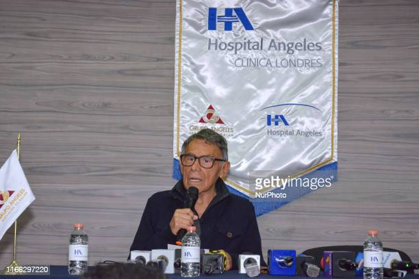 Actor Hector Suarez speaks during a press conference to announce he was operated cancer and that he is in good health at Angeles Hospital on...