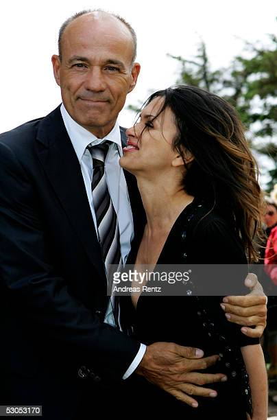Actor Heiner Lauterbach actor and his wife Viktoria Skaf pose at the Sankt Severin church on June 11 2005 at Sylt in Germany Michael Stich and...