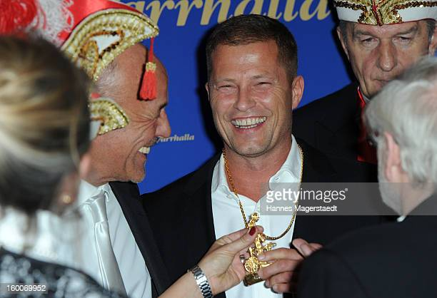 Actor Heiner Lauterbach and actor Til Schweiger pose with the Karl-Valentin-Orden during the Narrhalla Soiree 2012 at Hotel Bayerischer Hof on...