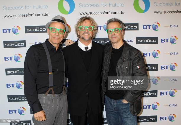 Actor Heiner Lauterbach member of the jury Martin J Krug initiator and organizer of the Success for Future Award and actor Hannes Jaenicke pose the...