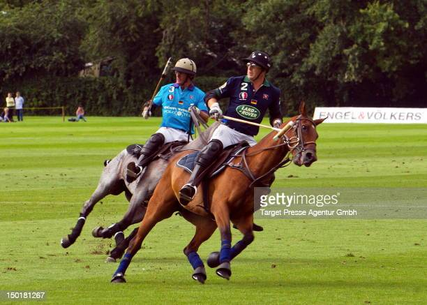 Actor Heino Ferch play a match of polo during the 'Engel Voelkers Maifeld Cup' on August 11 2012 in Berlin Germany
