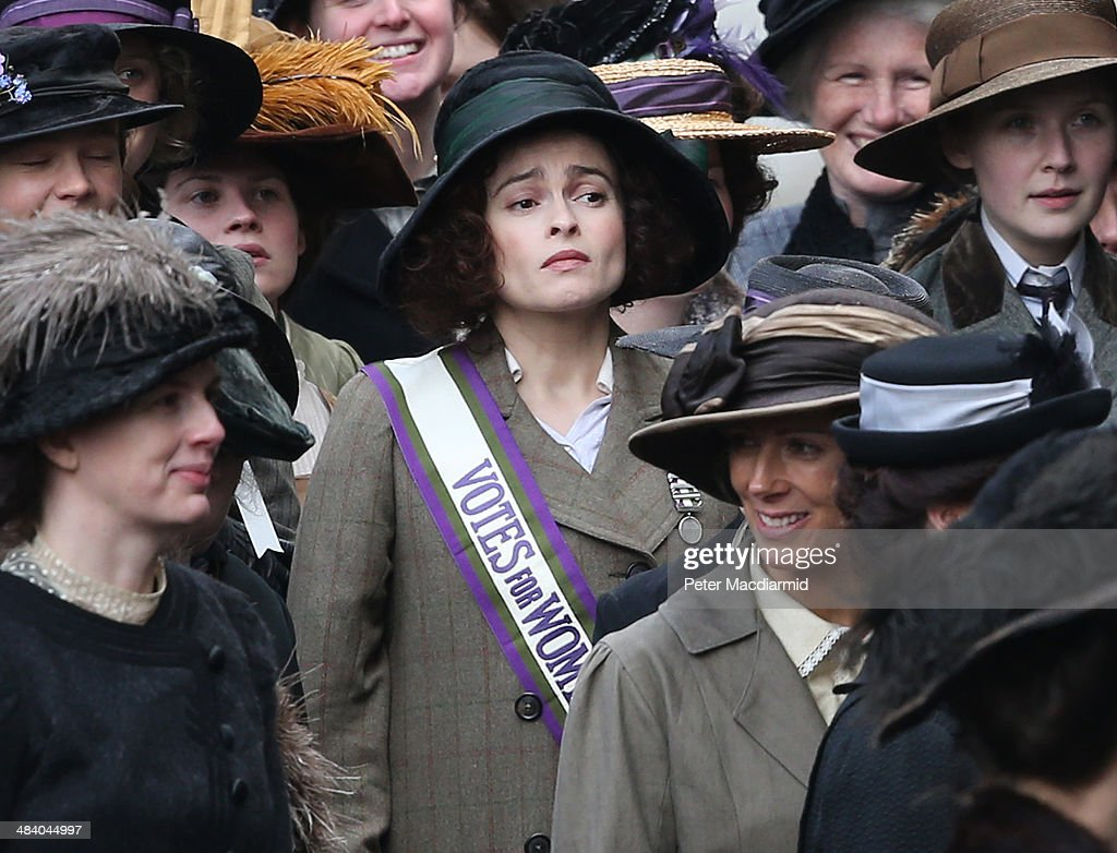 Actor Helena Bonham Carter takes part in filming of the movie Suffragette at Parliament on April 11, 2014 in London, England. This is the first time filming for a movie has been allowed in The Houses of Parliament. Suffragette is due for release in 2015.