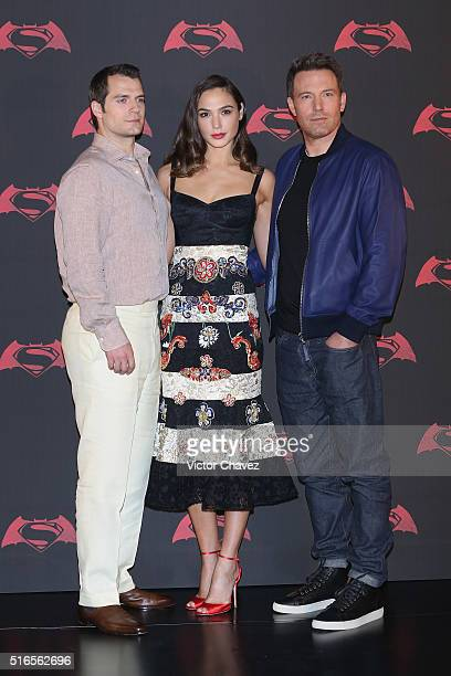 Actor Henry Cavill actress Gal Gadot and actor Ben Affleck attend 'Batman v Superman Dawn of Justice' Mexico City photo call at St Regis Hotel on...