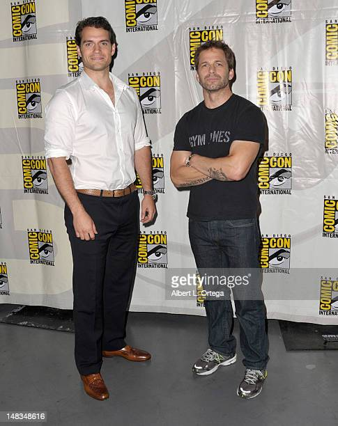 """Actor Henry Cavill and director Zack Snyder pose at Warner Bros. Pictures and Legendary Pictures preview """"Man Of Steel"""" during Comic-Con..."""