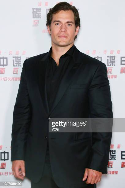 Actor Henry Cavill attends 'Mission Impossible Fallout' press conference at the Imperial Ancestral Temple on August 29 2018 in Beijing China
