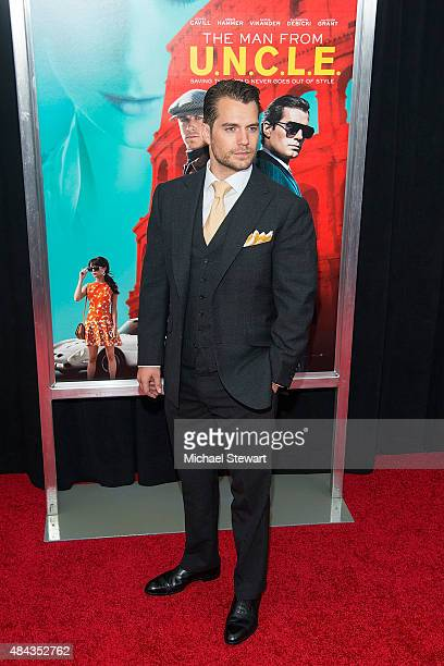 Actor Henry Cavill attends The Man From UNCLE New York premiere at Ziegfeld Theater on August 10 2015 in New York City