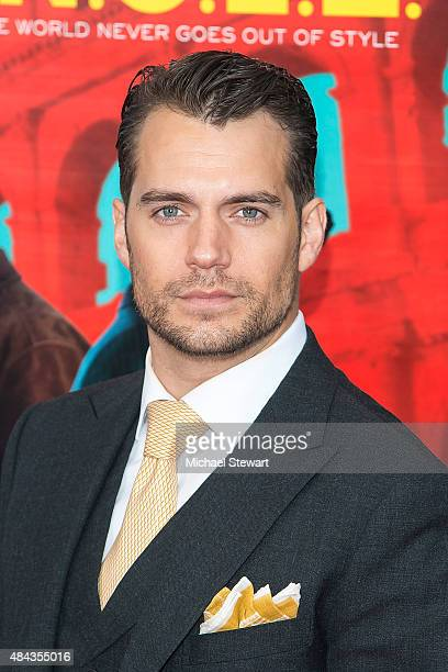 Actor Henry Cavill attends 'The Man From UNCLE' New York premiere at Ziegfeld Theater on August 10 2015 in New York City