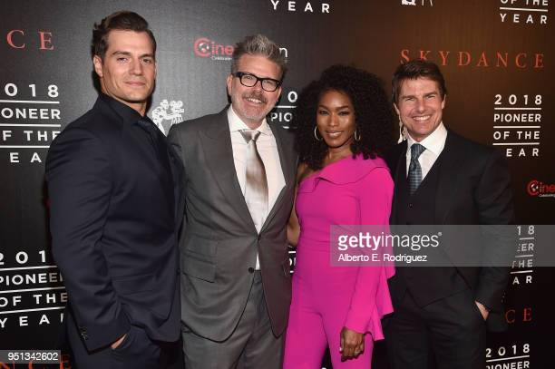 "Actor Henry Cavill director/writer/producer Christopher McQuarrie actors Angela Bassett and Tom Cruise attend the 2018 Will Rogers ""Pioneer of the..."