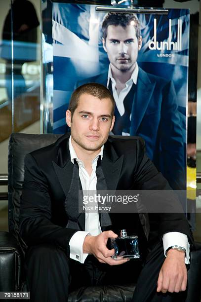 Actor Henry Cavill star of TV drama The Tudors launches Dunhill London a new fragrance for men on January 16 2008 at Selfridges Oxford Street in...