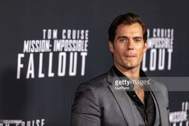 Actor Henry Cavill who plays quotAugust Walkerquot in Mission Impossible Fallout walks the red carpet of the US premiere at the Smithsonian National...