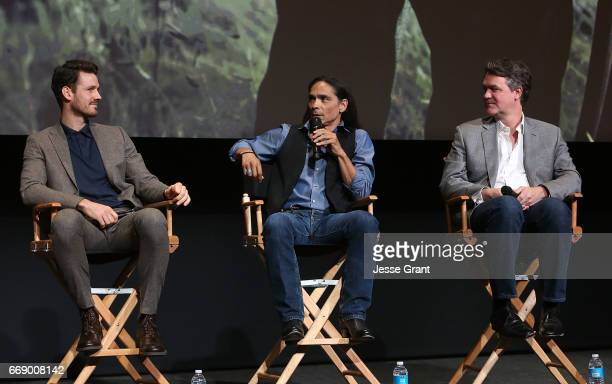 Actor Henry Garrett actress Zahn McClarnon and writer Kevin Murphy attend AMC's 'The Son' FYC Screening Panel Discussion on April 15 2017 in Los...