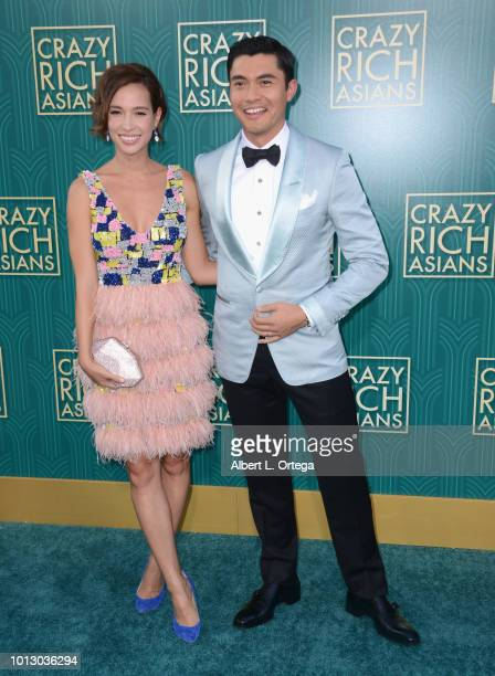 Actor Henry Golding and wife Liv Lo arrive for Warner Bros Pictures' Crazy Rich Asians Premiere held at TCL Chinese Theatre IMAX on August 7 2018 in...