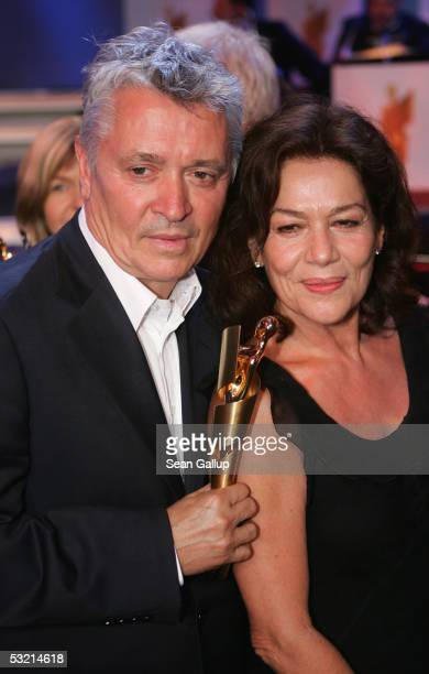 Actor Henry Huebchen poses with actress Hannelore Elsner and the Golden Lola Award he recived at the Deutscher Filmpreis German Film Awards at the...