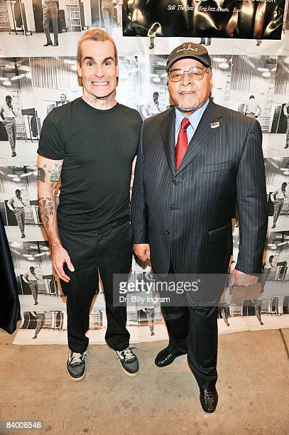 Actor Henry Rollins and legendary drummer Jimmy Cobb last surviving member of the kind of blue sessions arrive at the Miles Davis Kind of Blue 50th...