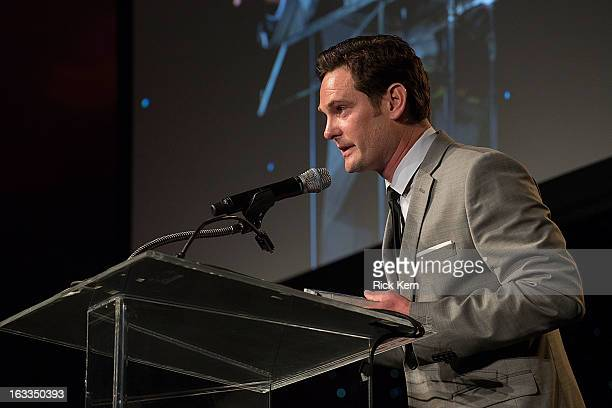 Actor Henry Thomas accepts an award at the Texas Film Hall of Fame Awards at Austin Studios on March 7, 2013 in Austin, Texas.