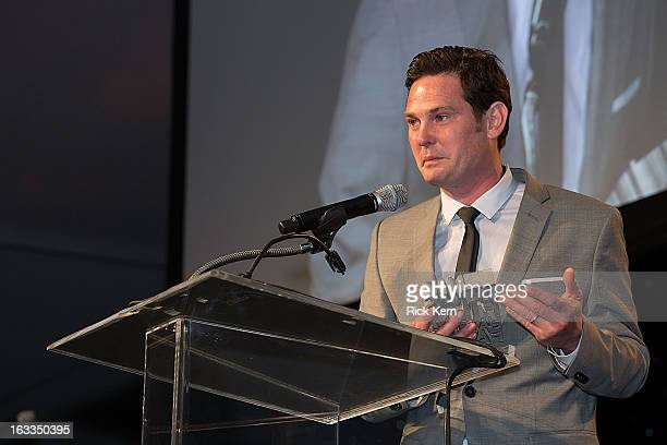 Actor Henry Thomas accepts an award at the Texas Film Hall of Fame Awards at Austin Studios on March 7 2013 in Austin Texas
