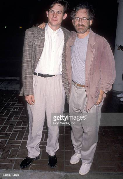 Actor Henry Thomas and director Steven Spielberg attend the Universal Studios Florida Grand Opening Celebration Private KickOff Party on June 6 1990...
