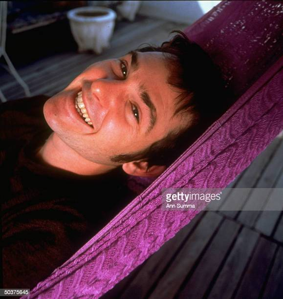 Actor Henry Thomas relaxing at home