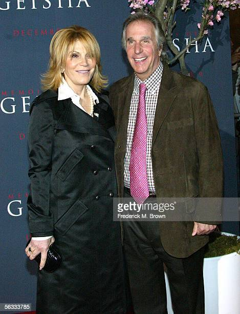 Actor Henry Winkler and his wife attend the Memoirs of a Geisha film premiere at the Kodak Theatre on December 4 2005 in Hollywood California