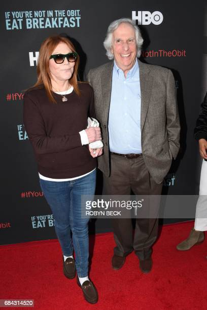 Actor Henry Winkler and Stacey Weitzman attend the premiere of the HBO documentary If Youre Not In the Obit Eat Breakfast May 17 2017 at the Samuel...