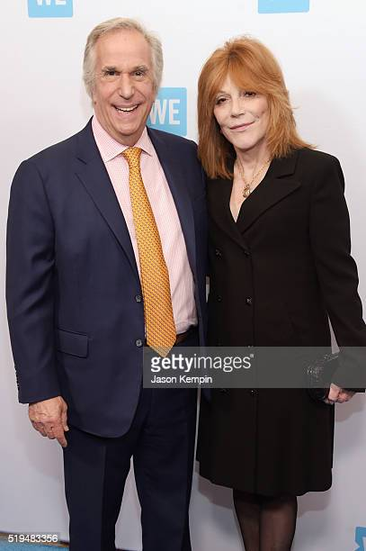 Actor Henry Winkler and Stacey Weitzman attend the WE Day Celebration Dinner at The Beverly Hilton Hotel on April 6 2016 in Beverly Hills California
