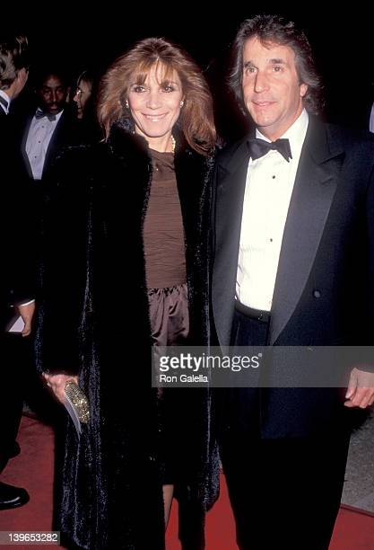 Actor Henry Winkler and wife Stacey Weitzman attend the Family Business Century City Premiere on December 13 1989 at Cineplex Odeon Century Plaza...