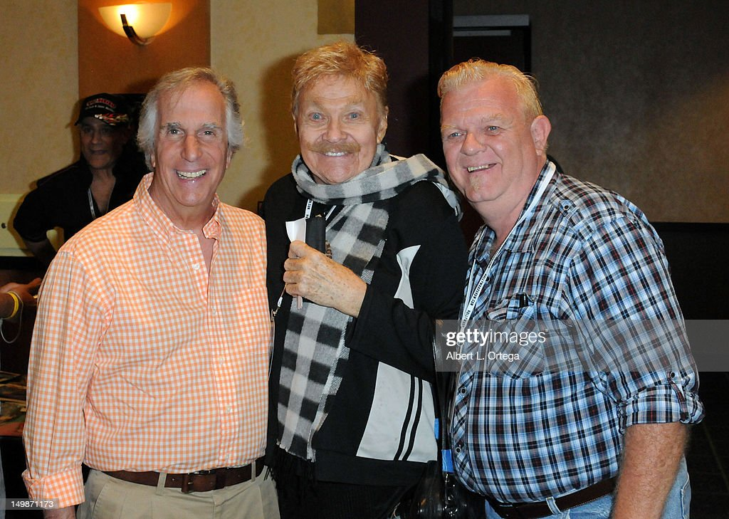 Actor Henry Winkler, comic Rip Taylor and actor Johnny Whitaker participate in The Hollywood Show held at Burbank Airport Marriott Hotel & Convention Center on August 5, 2012 in Burbank, California.