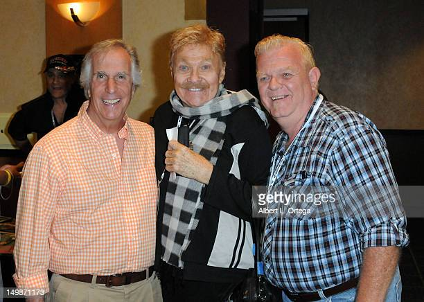 Actor Henry Winkler comic Rip Taylor and actor Johnny Whitaker participate in The Hollywood Show held at Burbank Airport Marriott Hotel Convention...