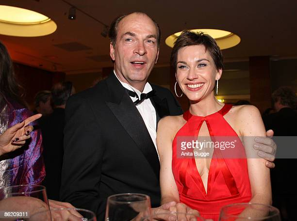 Actor Herbert Knaup and actress Christiane Paul attend the German Film Award 2009 after party at the Palais am Funkturm on April 24 2009 in Berlin...