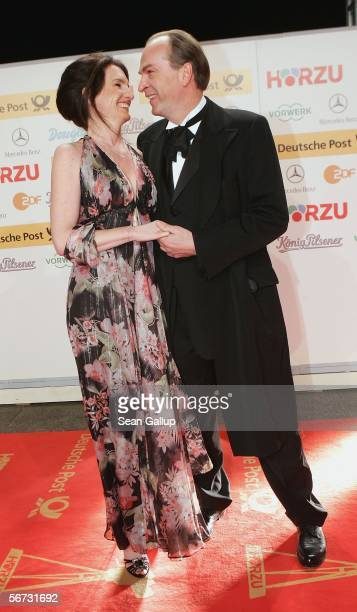 Actor Herbert Knaup and wife Christiane Lehrmann arrive for the Goldene Kamera Awards at the Axel Springer building February 2 2006 in Berlin Germany